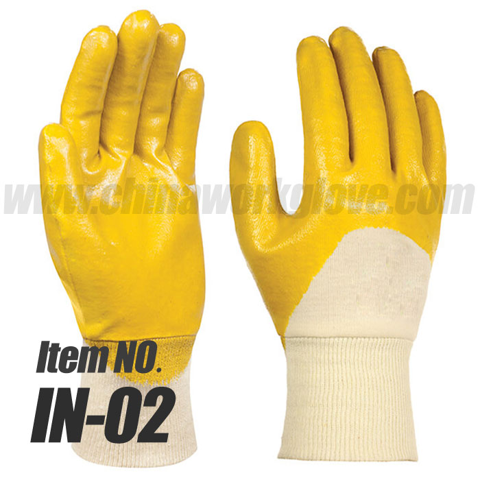 Cotton Interlock Liner with 3/4 Nitrile Coated Industrial Work Glove