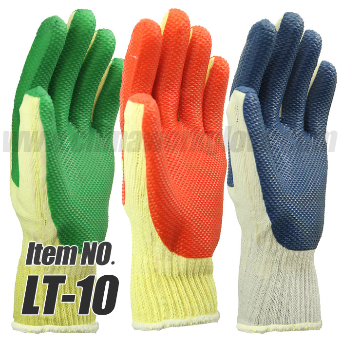 10 Gauge Cotton Rubber Palm Coated Work Glove for Heavy Duty