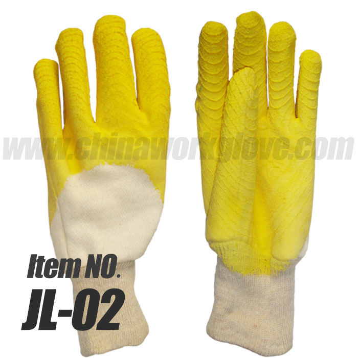 Cotton Jersey Latex Half dipped gloves, Crinkle Coating Knitted Wrist